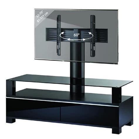 meuble tv haut de gamme avec support quot ravano quot noir rack t 233 l 233 viseur achat vente meuble tv