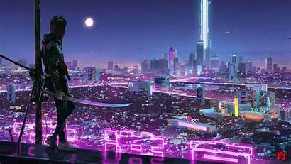 Cyberpunk Warrior Resolution Wallpapers Background 4k Futuristic