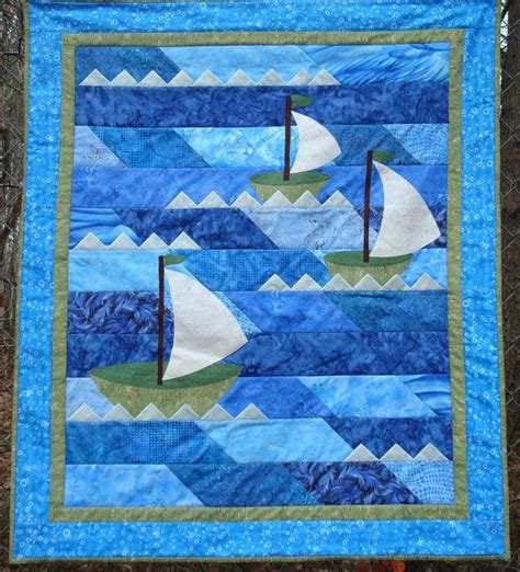 Sailboat Quilt by Nautical Sailboat Quilt