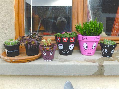 mes pots de fleurs barbapapa
