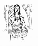 Native Coloring American Pages sketch template