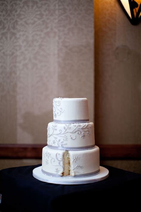 white  purple gray wedding cake