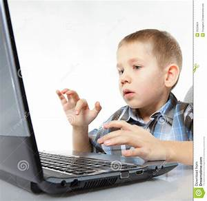 Computer Addiction Emotional Boy With Laptop Stock Images ...