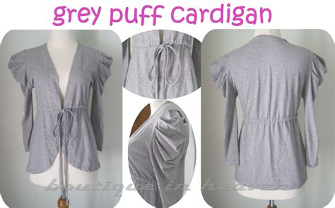 boutique in heaven online shop grey puff cardigan sold