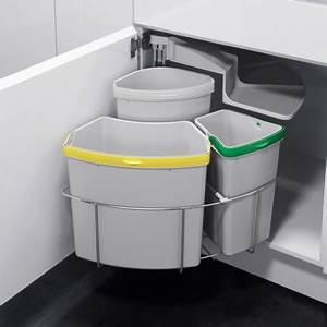 Poubelle Cuisine Sous Evier : poubelle tri s lectif pivotante 3 bacs 39 litres ~ Carolinahurricanesstore.com Idées de Décoration