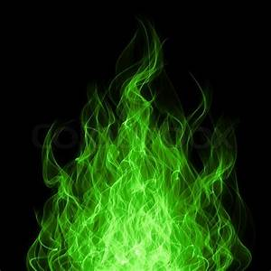 Green toxic fire flame on black background | Stock Photo ...