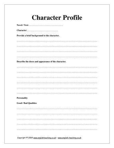 character profile template pdf character profile by tesenglish teaching resources tes