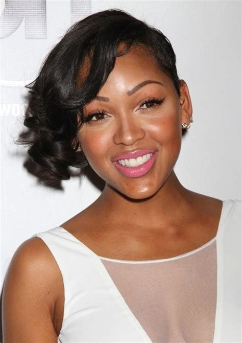 meagan good hairstyles short curly asymmetric hairstyle