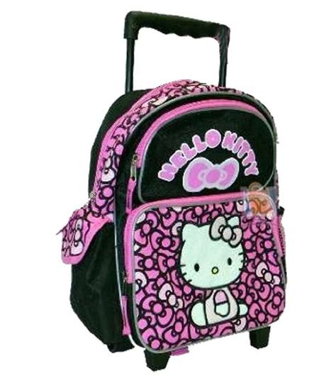 hello kitty toddler rolling backpack ribbons black pink 440 | s l1000