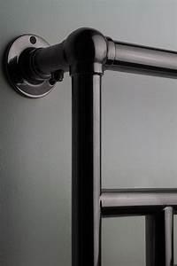old, century, black, chrome, bathroom, heated, towel, rail