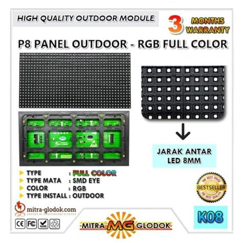 Hiled Running Rgb Module 3 Mata panel modul p8 smd outdoor color rgb