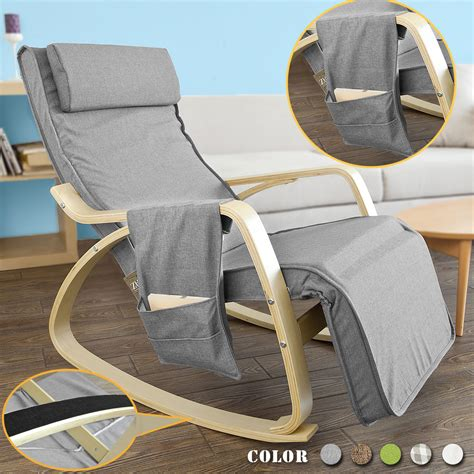Cing Chairs With Footrest Uk by Sobuy 174 Wooden Glider Chair Rocking Chair With Adjustable