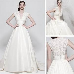 a line embroidered v neck bodice capped sleeve full skirt With wedding dress with pockets and sleeves