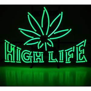 Neon sign medical dispensary pot leaf High Life