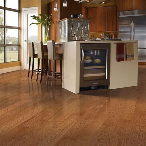 Gunstock Oak Flooring Kitchen Shop Allen Roth 5 In W Prefinished Oak Hardwood Flooring Gunstock Oak At Lowes Tiles