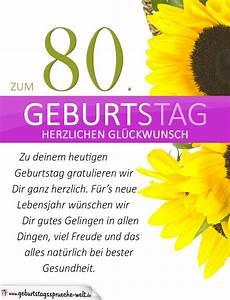 Besinnliches Zum 80 Geburtstag : schlichte geburtstagskarte mit sonnenblumen zum 80 geburtstag geburtstagsspr che welt ~ Frokenaadalensverden.com Haus und Dekorationen