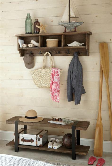 simple coastal entryway storage ideas  benches