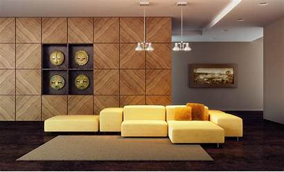 Yellow Sofa Living Interior Composite Wallpapers Modern