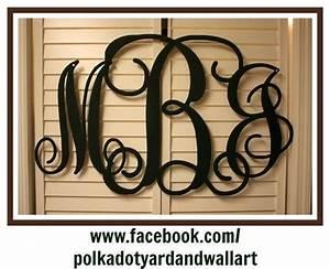 36quot custom metal wall monogram three letters wall or With custom metal letters for wall