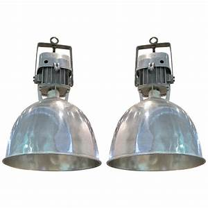 Pair Of French Industrial Light Fixtures at 1stdibs