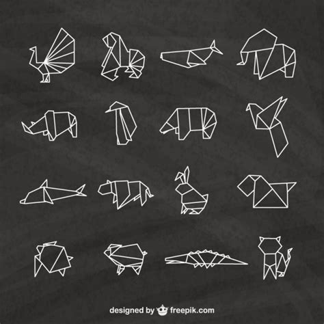 origami animals pack vector premium