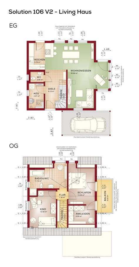 100 Qm Haus by Grundriss Einfamilienhaus Mit Carport Und Satteldach