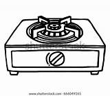 Stove Clipart Gas Cartoon Stoves Drawing Oven Shutterstock Sketch Drawn Isolated Furnace Station Cliparts Clipground sketch template