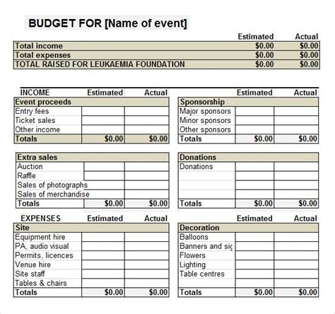 fundraiser event budget template work  pinterest