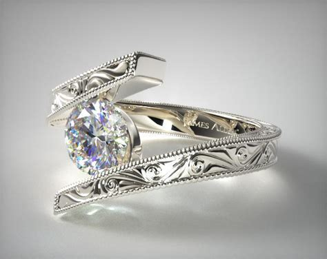 hand engraved bypass engagement ring  white gold