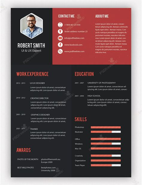 creative professional resume template  psd resume