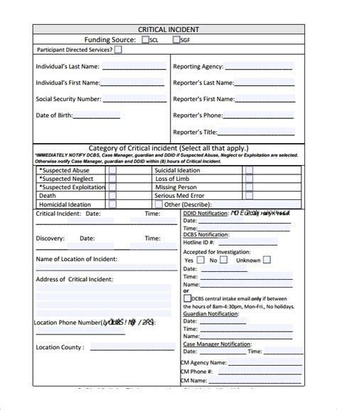 incident reporting forms sample templates