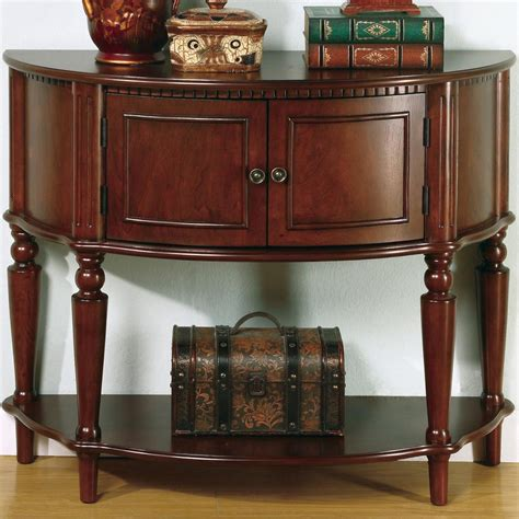 fine furniture accent tables  brown entry table  curved front inlay shelf del sol