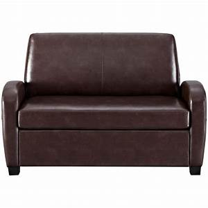 Convertible Sofa Leather Couch Twin Bed Mattress Sleeper