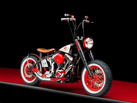 2006 Harley-davidson Motorcycle Black And Red Custom 3/4