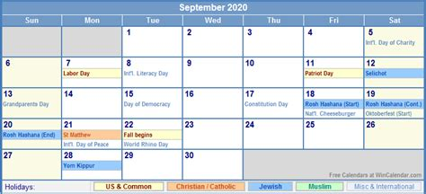 september calendar holidays printing image format