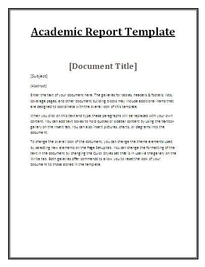 printable academic report  report templates