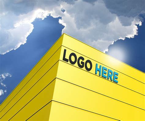 Free 3D Building Logo Mockup - GraphicsFamily