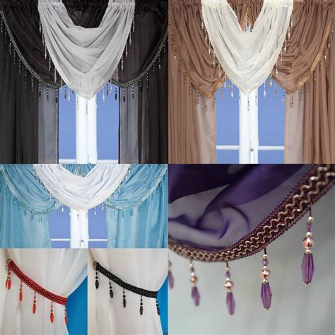 Drapery Swags by Beaded Voile Curtain Swags All Colours Pelmet