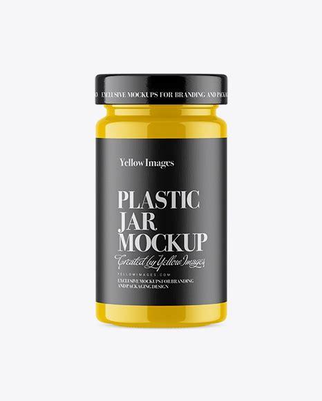 A photorealistic glossy cosmetic jar mockup psd. Glossy Plastic Jar Mockup - Glossy Plastic Protein Jar ...