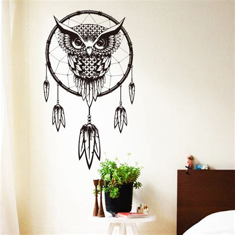 2016 design indian catcher vinyl owl home decor wall sticker cheap house decoration