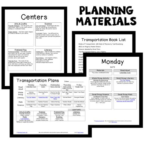 transportation theme preschool classroom lesson plans 186 | Transportation PT Planning Materials