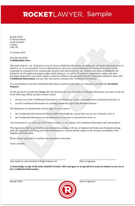 confidentiality letter uk template