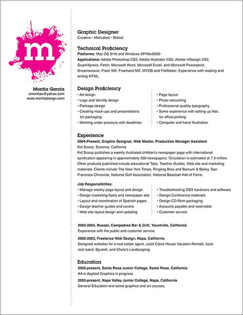 Resume Of Graphic Artist graphic artist resume best template collection