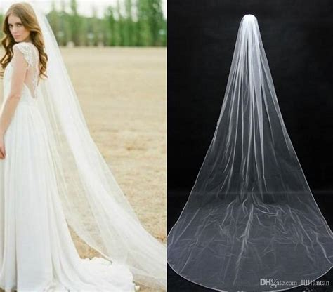 Simple Chapel Length Bridal Veil Long Soft Tulle White