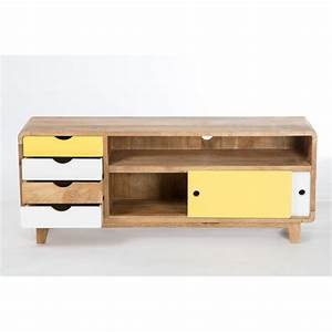 Meuble Tv Scandinave But : meuble tv inspiration scandinave 4 tiroirs 2 portes sweet mango ~ Teatrodelosmanantiales.com Idées de Décoration