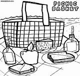 Picnic Basket Coloring Pages Colorings sketch template
