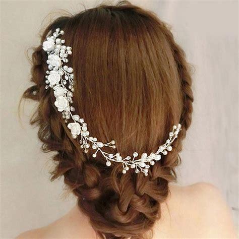 pc shiny crystal bridal pearl hair comb wedding white