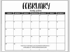 Monthly Calendar Templates Free Editable Calendar Template 2018