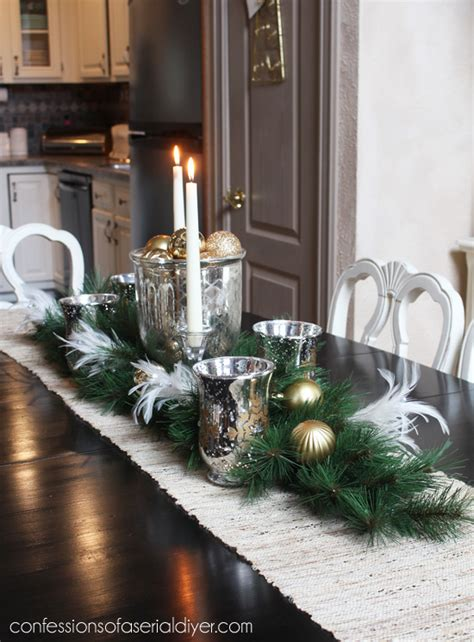 I love adding a table runner to my dining table to connect the middle table settings! Holiday Dining Table Centerpiece