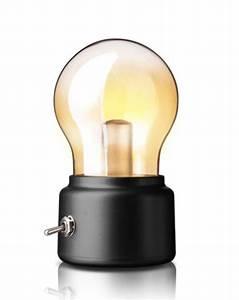 Lampe En Forme D Ampoule : lampe veuilleuse noire en forme d 39 ampoule retro vintage design avec batterie japan attitude ~ Teatrodelosmanantiales.com Idées de Décoration